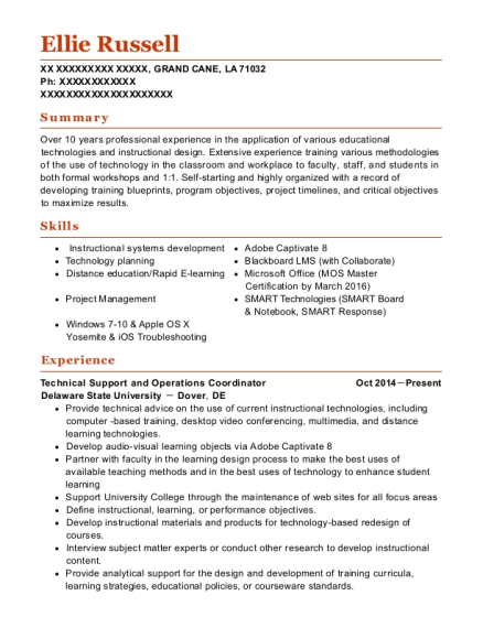 Technical Support and Operations Coordinator resume template Louisiana