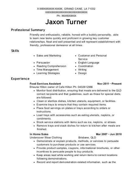 Food Services Assistant resume sample Louisiana