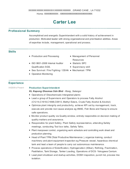Production Superintendent resume sample Louisiana
