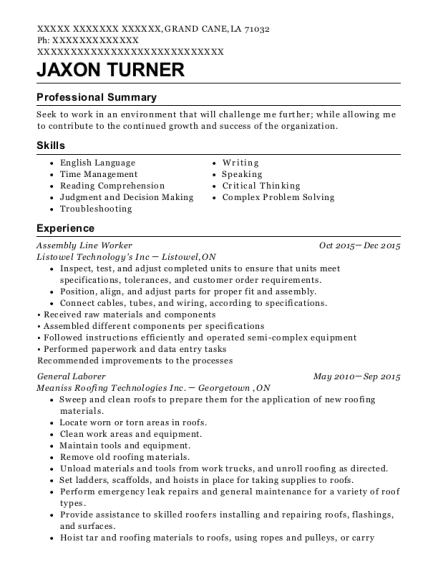 Assembly Line Worker resume sample Louisiana