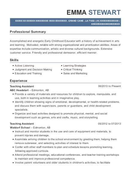 Teaching Assistant resume example Louisiana
