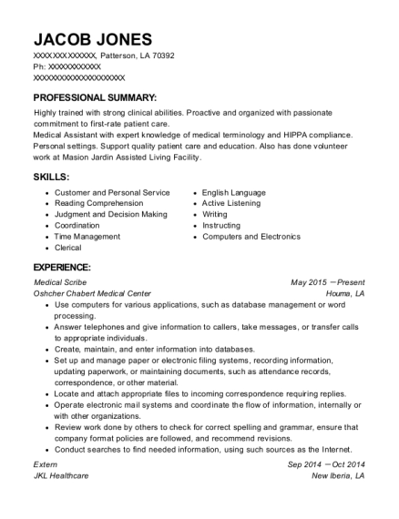 Medical Scribe resume sample Louisiana