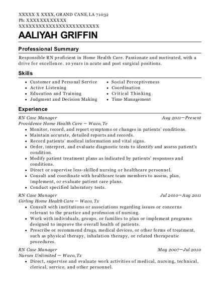 RN Case Manager resume format Louisiana