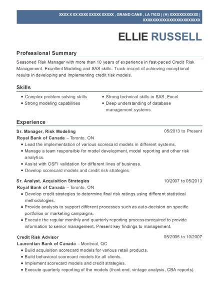 Sr Manager resume example Louisiana