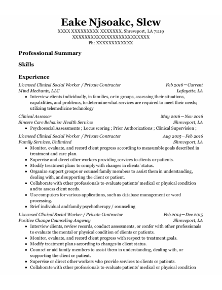 Licensed Clinical Social Worker resume example Louisiana