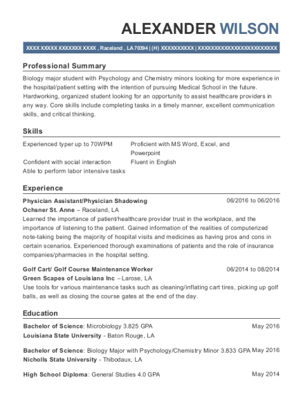 Physician Assistant resume format Louisiana