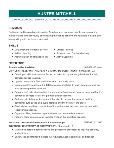 Administrative Assistant resume format Louisiana