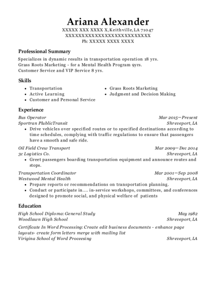 Bus Operator resume template Louisiana