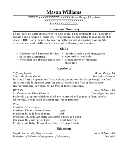 Small Business Owner resume format Louisiana