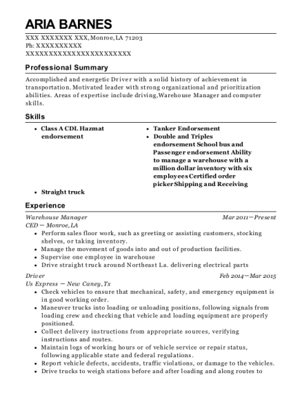 Warehouse Manager resume example Louisiana