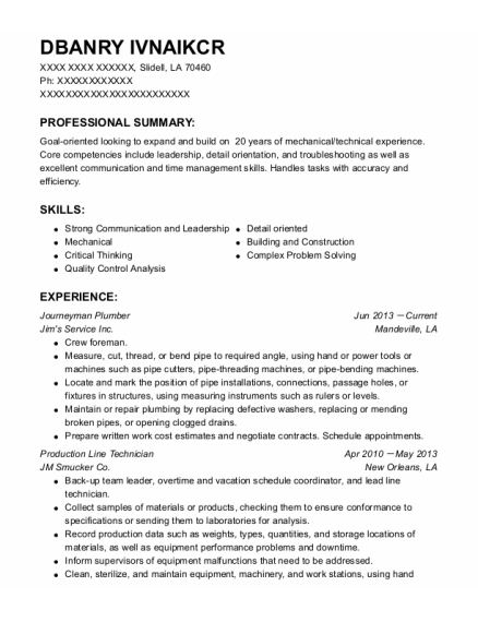 Journeyman Plumber resume example Louisiana