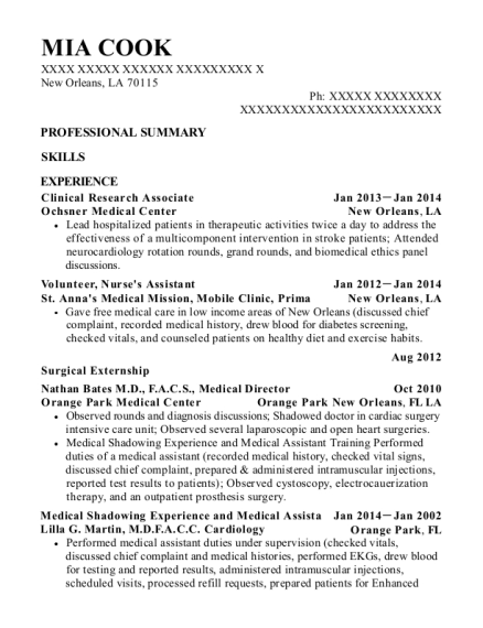 Clinical Research Associate resume example Louisiana