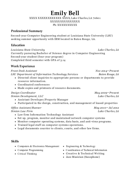Front Desk Assistant resume format Louisiana