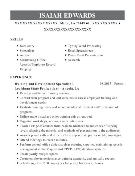 Training and Development Specialist 3 resume sample Louisiana