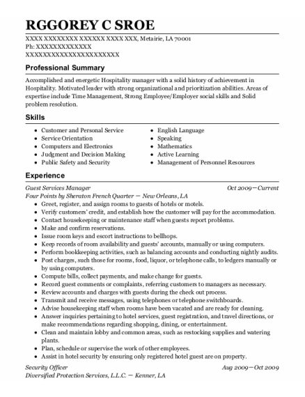 Guest Services Manager resume example Louisiana