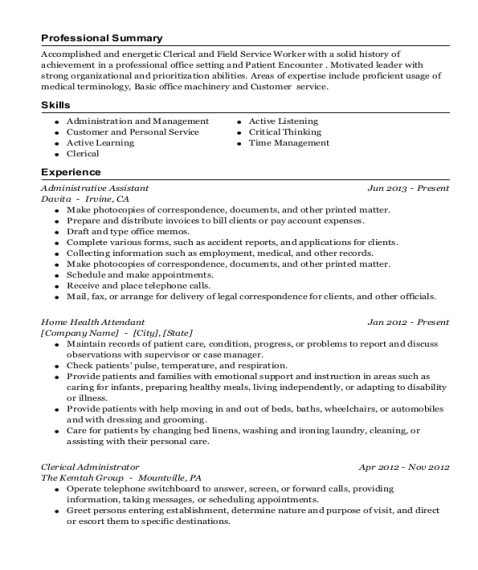 Administrative Assistant resume example Louisiana