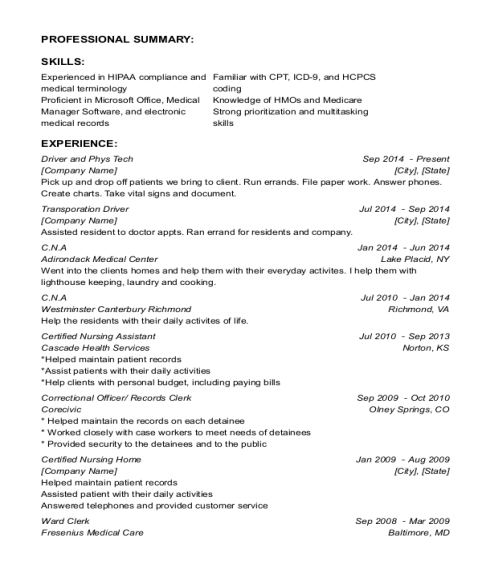 Driver and Phys Tech resume example Louisiana