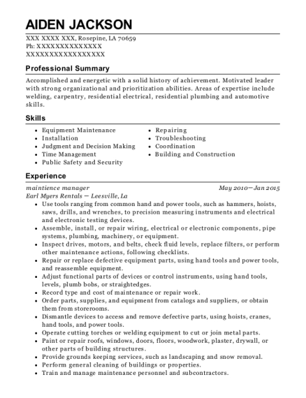 maintience manager resume format Louisiana