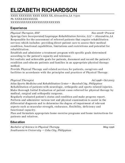 Physical Therapist resume format Louisiana