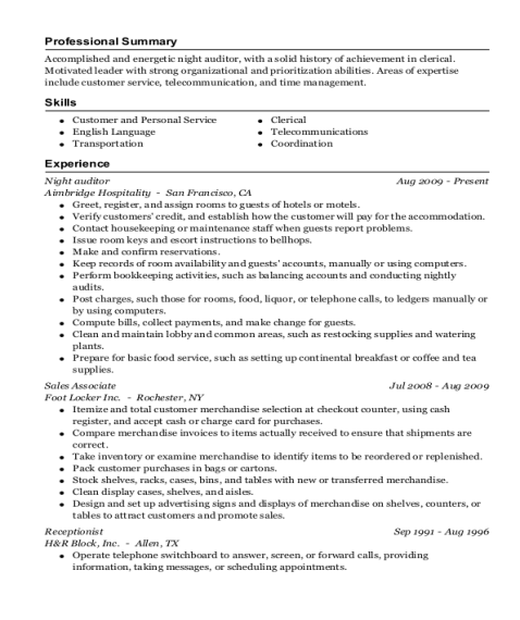 Night Auditor resume example Louisiana