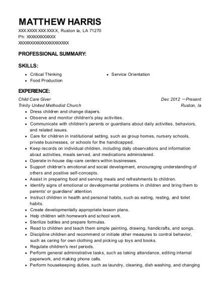 Child Care Giver resume template Louisiana