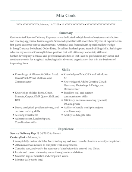 Service Delivery Rep II resume sample Louisiana
