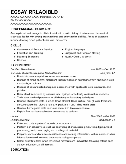 Certified Phlebotomist resume template Louisiana