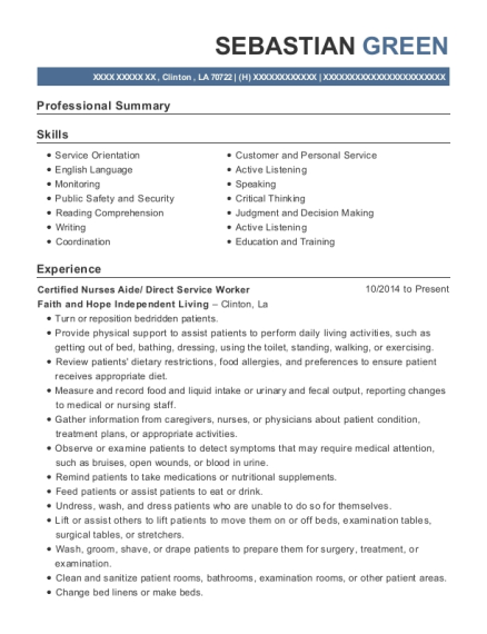 Certified Nurses Aide resume format Louisiana