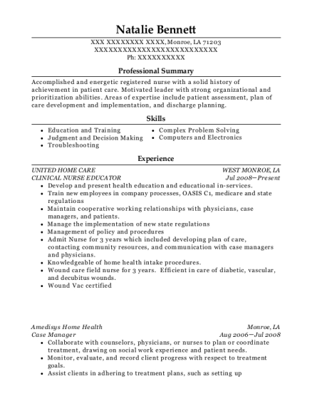 CLINICAL NURSE EDUCATOR resume example Louisiana