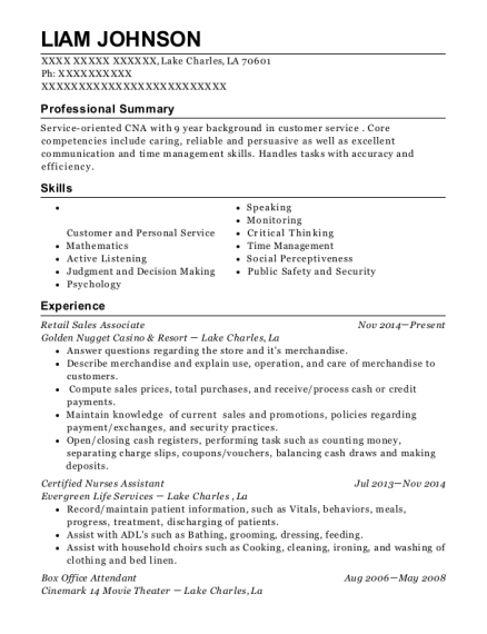 Retail Sales Associate resume sample Louisiana
