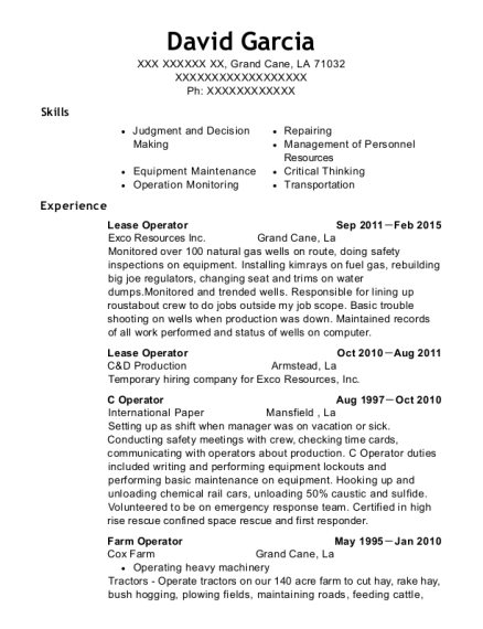 Lease Operator resume template Louisiana