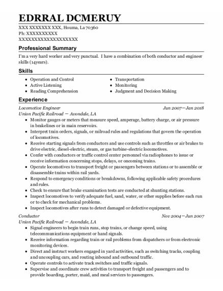 Locomotive Engineer resume template Louisiana