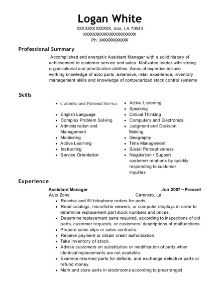 Assistant Manager resume example Louisiana