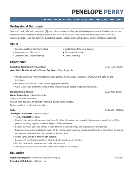 Executive Administrative Assistant resume template Louisiana