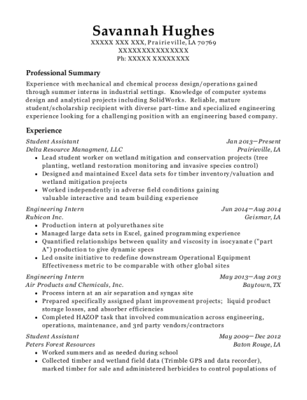 Student Assistant resume format Louisiana