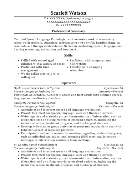 Speech Language Pathologist resume template Louisiana