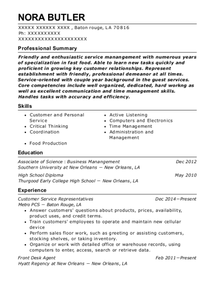 Customer Service Representatives resume sample Louisiana