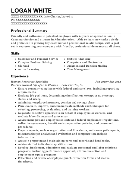 Human Resources Specialist resume format Louisiana