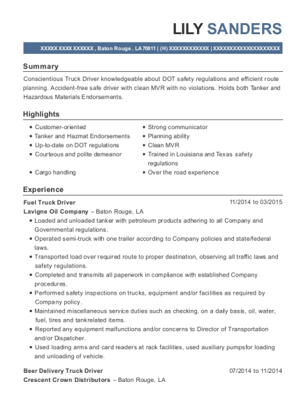 Fuel Truck Driver resume format Louisiana