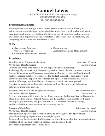 Vice President resume example Louisiana