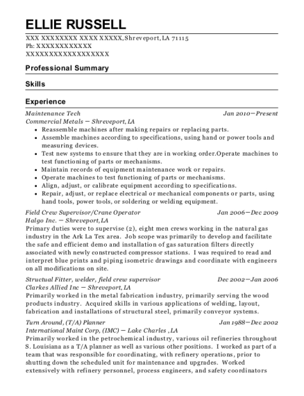 Maintenance Tech resume format Louisiana