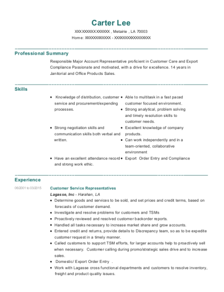 Customer Service Representatives resume template Louisiana