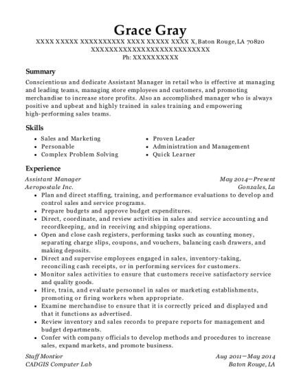 Assistant Manager resume format Louisiana