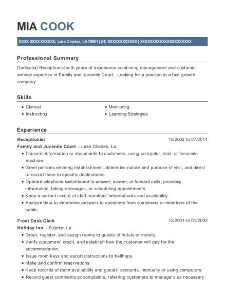 Receptionist resume template Louisiana