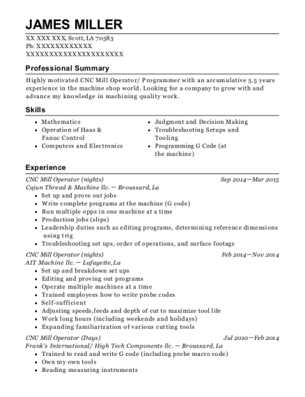 CNC Mill Operator resume template Louisiana