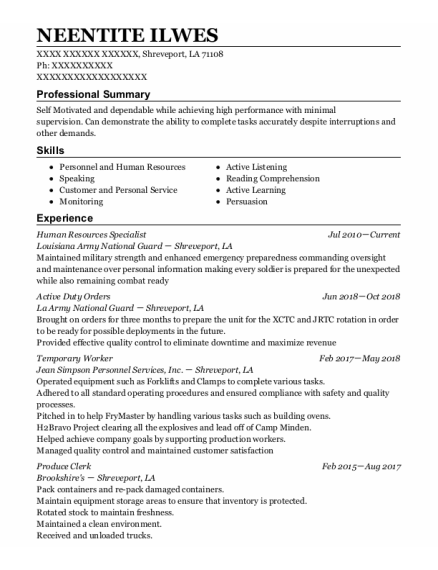 Human Resources Specialist resume template Louisiana
