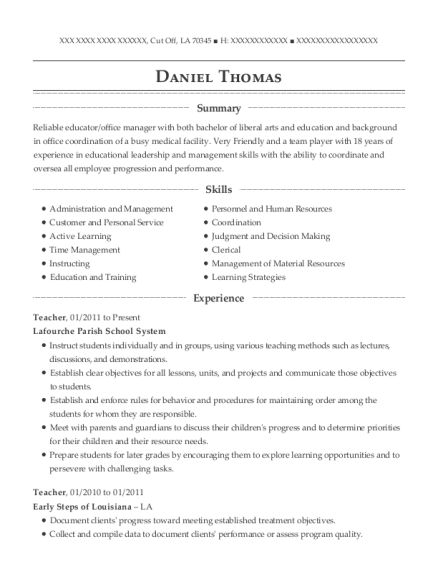 Teacher resume sample Louisiana