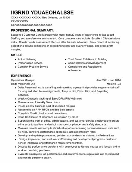 Operations Manager resume format Louisiana