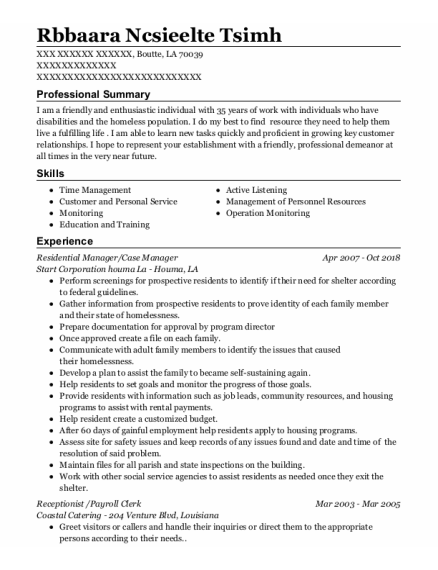 Residential Manager resume template Louisiana