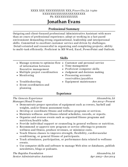 Manager resume sample Louisiana